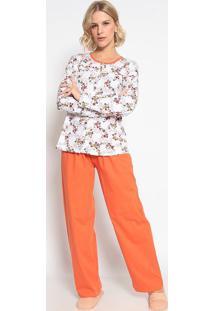 Pijama Manga Longa Aberto & Calã§A- Branco & Laranjasonhart