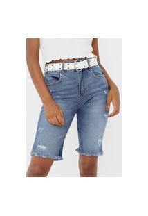 Bermuda Jeans Colcci Slim Bia Azul
