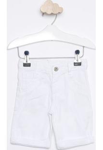 Bermuda Em Sarja Com Bigodes- Branco- Look Jeanslook Jeans