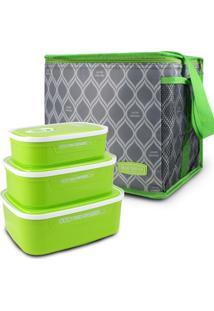 Conjunto Kit De 3 Peças Potes Para Alimentos E Bolsa Térmica Tam G Fitness Jacki Design Verde
