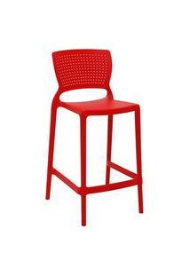 Cadeira Alta Tramontina 92128040 Safira Polipropileno Fibra De Vidro Vermelha