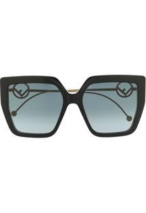 Fendi Eyewear Óculos De Sol Quadrado Com Logo F - Preto