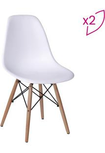 Jogo De Cadeiras Eames Dkr- Branco & Bege- 2Pã§S-Or Design
