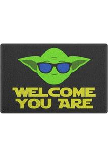 Capacho Vinil Welcome You Are Mestre Yoda Star Wars - 60 X 40