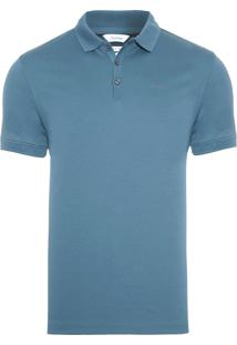 Polo Masculina Solid Liquid Interlock - Azul