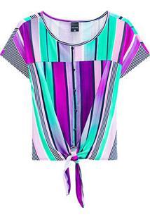 Blusas Malwee Feminino Ampla-1000066043 - Feminino-Verde+Roxo
