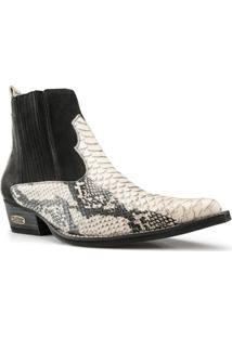 Bota Texana Country Capelli Boots Anaconda Em Couro Cano Curto E Bico Fino Masculina - Masculino