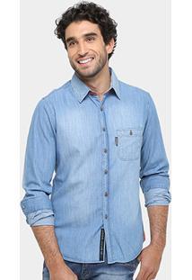Camisa Jeans Sergio K Regular Fit Bolso Stone Masculina - Masculino