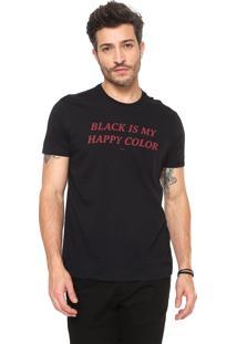 Camiseta Ellus Happy Color Preta