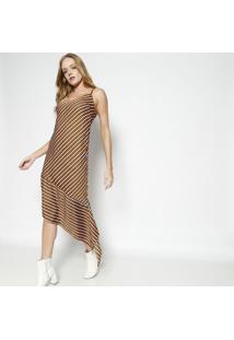 Vestido Listrado Com Fendas - Laranja & Pretocalvin Klein