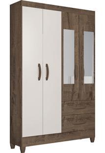 Guarda Roupa Real 4 Portas C/ Espelho Mocaccino Rústico/Natura Off White Atualle Móveis - Tricae