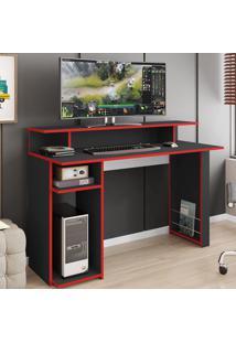 Mesa Gamer Inspire Ideal Para 2 Monitores Preto/Vermelho - Art In Móveis