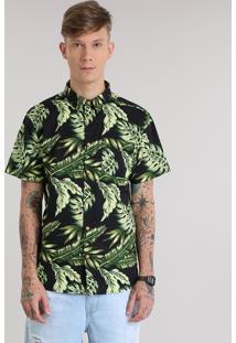 Camisa Estampada De Folhas Preta