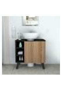 Gabinete Para Banheiro Slim Com 1 Porta - Preto/Castanho