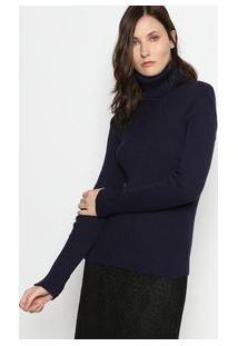 Ponto Aguiar Blusa Gola Alta Em Tricã´ Azul Marinho