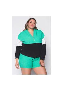 Jaqueta Almaria Plus Size Leeban Capuz Linho Verde