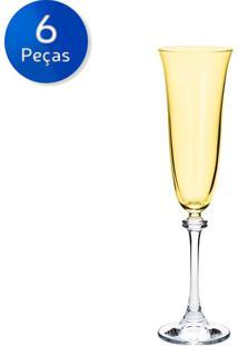 Jogo De Taças Para Champagne 6 Peças 190 Ml Alexandra - Bohemia - Ambar