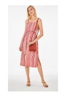 Vestido Midi Decote Quadrado Com Bolso Rosa P