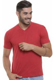 Camiseta Decote V Masculina - Masculino-Vermelho