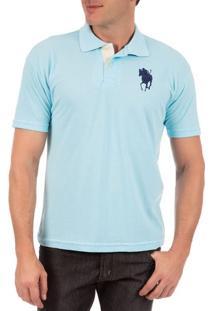 Camisa Polo Masculina Azul Com Bordado - G