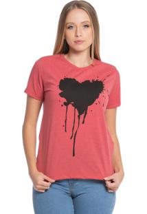 Blusa Feminina Com Coração Vermelho Mescla