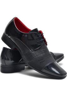 Sapato Social Couro Verniz Cadarço Ruggero Masculino - Masculino-Preto