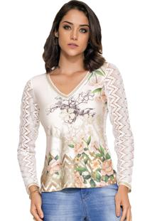 Blusa Rosa K Estampada Crochet Off White