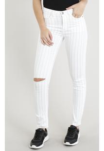 Calça De Sarja Feminina Skinny Risca De Giz Off White