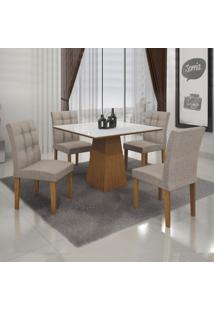 Conjunto Sala De Jantar Mesa Tampo Mdf/Vidro 4 Cadeiras Itália Leifer Imbuia Mel/Branco/Veludo Caramelo