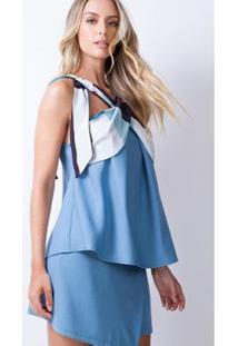 Blusa Transpasse Frontal Lança Perfume Feminina - Feminino-Azul