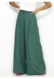 Calça Pantalona De Linho Com Pregas Verde