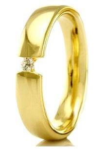 Aliança De Casamento Feminina Em Ouro 18K 3,5Mm Com Pedra Wm Jóias - Feminino-Dourado