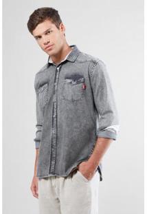 Camisa Jeans Reserva Regular Taquara Masculina - Masculino-Preto