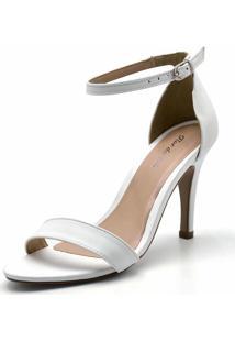 Sandália Salto Fino Flor Da Pele Branco