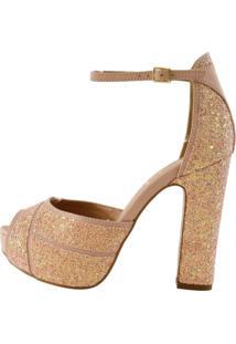 Sandália Week Shoes Salto Grosso Rosê Glitter
