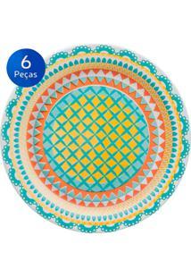 Conjunto De Pratos Para Sobremesa 6 Peças Floreal Bilro - Oxford Multicolorido
