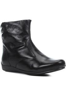 Bota Couro Shoestock Cano Curto Travel Feminina - Feminino-Preto