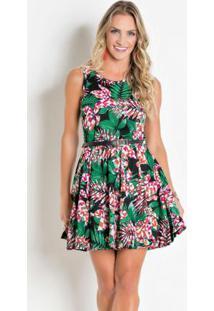 Vestido Godê Folha E Geométrico Rosa