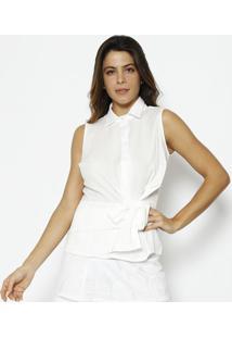 Blusa Lisa Com Botãµes - Branca - Alfredaalfreda