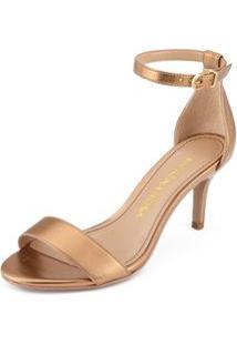 Sandalia Salto Medio Lisa Dourado