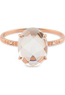 Anel Ouro Rosé Cristal E Diamante