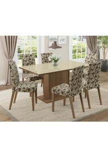 Conjunto De Mesa Com 6 Cadeiras Vivere Rustic E Bege