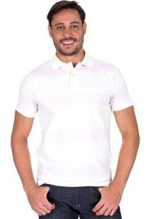 Camisa Polo Masculina Rosa Listrada Upper - G