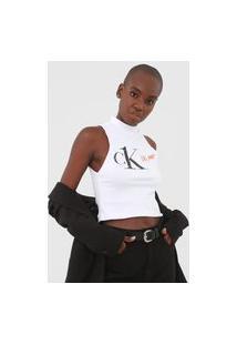 Blusa Cropped Calvin Klein Jeans Canelada Branca