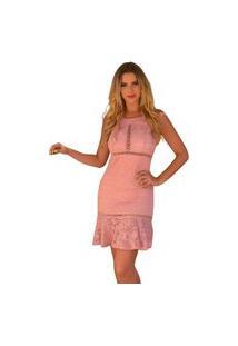 Vestido Boutelle De Renda Festa Bojo Moda Rosa Blush