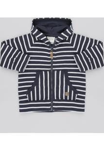 Blusão Infantil Listrado Com Bolso E Capuz Em Moletom Azul Marinho