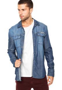 Camisa Jeans Calvin Klein Jeans Estonada Azul