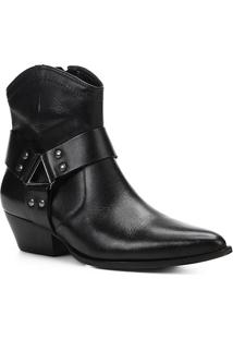Bota Country Shoestock Western Ferragem Feminina - Feminino-Preto