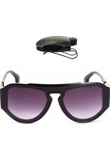 Óculos De Sol Grande Com Brinde Selten Preto