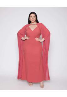 Vestido Almaria Plus Size Pianeta Creponado Rosa